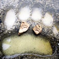Камень с гравировкой рисунка лапы медведя