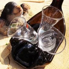 Комплект подарочный Поплыли пьяная бутылка и 3 пьяные рюмки