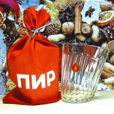 Пьяный стакан с логотипом ярпарки «ПИР»